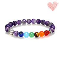 Barato Ágata Grossa Jewerly-Venda Por Atacado Pulseira Beaded Buddha 8mm Natural Stone Turquoise Red Agate Tiger Eye Amethyst Bracelet Yoga Semi Precious Stone Jewerly