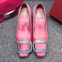 Wholesale Pink Brand Bridal Shoes - New 2017 Women Square Rhinestone Wedding Shoes Satin Cloth Med Heel Bridal Shoes Luxury Brand High Quality Party Pumps Free Shipping P29