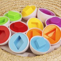 Wholesale Egg Shape Match - Wholesale- 24pcs eggs set Kids Learning Toys Mixed Shape 3D Puzzle Smart Egg Wise Matches Baby Kid Learning Kitchen Toys Tool