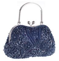 Wholesale Gold Diamond Prom Dresses - Vintage Floral Jewels Beaded Evening Clutch Bag Kissing Lock Metal Top-handle Prom Party Handbag 2017 Sale