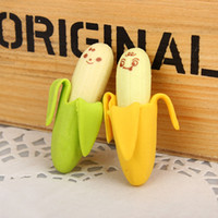 Wholesale Pencil Erasers For Kids - Wholesale- 2Pcs lot Kawaii Cute Banana Eraser Fruit Pencil Rubber Novelty For Kids Toy Children's Day Gift