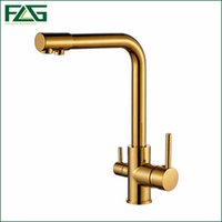Wholesale Kitchen Faucets Copper Finish - FLG 100% Copper Gold Finished Swivel Drinking Water Faucet 3 Way Water Filter Purifier Kitchen Faucets For Sinks Taps 242-33B