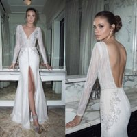 Trumpet/Mermaid Reference Images 2017 Spring Summer Sexy Front Split Mermaid Wedding Dresses V Neck Appliques Sequins Backless Wedding Gowns Long Sleeve Floor Length Bridal Dress