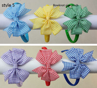 Wholesale Plastic Headbands Cover - 7 style available girl gingham hair bows solid Hair Bands Covered ribbon fully lined wrapped Plastic school plaid hard Headbands 12pcs