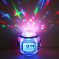 alarme de projecteur achat en gros de-Numérique Led Projecteur De Projection Réveil Calendrier Thermomètre Horloge Reloj Despertador Musique Étoilé Changement De Couleur Étoile Ciel Veilleuses