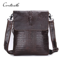 Wholesale Handmade Phone - CONTACT'S Fashion Designer Genuine Leather Crossbody Bags For Men High Quality Handmade Crocodile Leather Small Shoulder Bag