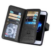 Wholesale Iphone Flip Strap - BRG WRISTLET 9 CARD HOLDER MAGNETIC DETACHABLE PU Leather Folio Flip Credit Card Slots Cash Holder Wrist Strap Case for iPhone 6 7