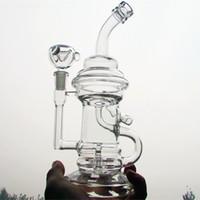 volle set glasbong großhandel-Günstige! Super voll Set Wasserglas Bongs Rauchen Glas Rohre ölplattformen Glas bong doppel recycling 14,4mm Joint