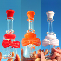 Wholesale Bowknot Glasses - Bong Oil Rigs Glass Bongs Dab Rig Rigs Oil Dab with Bowknot Cute Rigs Oil Dab Bongs for Lady Girl Friend
