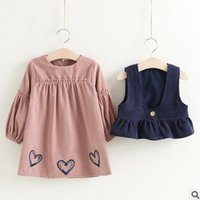 Wholesale Sweet Heart Neck Line Dresses - Kids outfits sweet girls velvet lantarn sleeve love-heart printed A-line dress+suspender waistcoat 2pcs sets Autumn girls clothing G0882