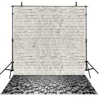 Wholesale Photography Stones - 5x7ft Brick Wall Photography Backdrops Vinyl Dark Stones Floor Photo Backgrounds for Children Baby Newborn Studio Photographic Wallpaper