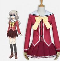 ingrosso calzini anime giapponesi-Anime giapponese Charlotte Cosplay Tomori Nao Costume per le donne JK Uniform Top + Skirt + Socks per Set