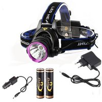 Wholesale Hunting Led Headlight - wholesale 1800 Lumens CREE XM-L XML T6 led Headlamps Headlight Flashlight Head Lamp Light with 18650 battery charger set for Hunting Camping