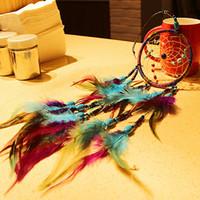 cuentas de la pared al por mayor-Decoración para el hogar regalo de artesanía Dreamcatcher India estilo de madera perlas colgante de plumas Dream Catcher red decoración colgante de pared B995Q