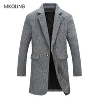 Wholesale Mens Hooded Pea Coats - Wholesale- New Fashion M-5XL 2017 Long Trench Coat Men Winter Mens Overcoat Casual Brand Thick Pea Trench Coats Male Cotton Jackets