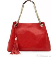 cuero rojo hobo bolsos al por mayor-Rojo / Negro Bolsos grandes 2016 Mujeres Bolso Moda PU Cuero Mujer Bolso Casual Tassel Bolsas de asas Sac A Principal Femme Bolsa Feminina Couro