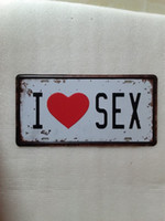 Wholesale Sex Wall Art - I LOVE SEX Vintage Metal Plaque Car Number Retro Licence Plate Tin Sign Bar Pub Home Cafe Wall Decor Retro Metal Art Poster