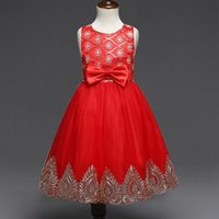 Wholesale flower garments laces - Europe and the United States embroidered garment princess dress Sleeveless bowknot girl scout red dress in summer flower girl dress prom dre