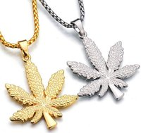 Wholesale Wholesale Jamaican Jewelry - 2017 New Punk Jamaican reggae hemp leaf Gold Silver maple leaf Hemp leaf Necklace Pendants Hip Hop Jewelry for Men Women 237