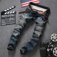 Wholesale Mens Slim Jeans Size 38 - Men's Distressed Ripped Biker Jeans US Size 28~38 Slim Fit Motorcycle Biker Denim For Men Brand Designer Hip Hop Mens Jeans