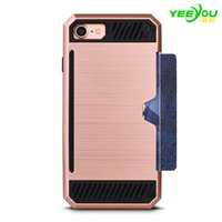 Wholesale Metal Wire Cover Iphone - For iphone 8 plus case cell phone covers 2 in 1 colorful metal wire-drawing Insert card protective for samsung s8 plus s7 edge