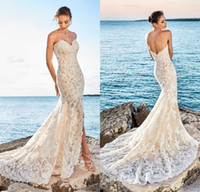 Wholesale lace low back beach wedding dress for sale - Group buy 2017 Sexy Mermaid Beach Lace Wedding Dresses Sweetheart Slit Front Low Back Bridal Gowns Vestidos De Noiva