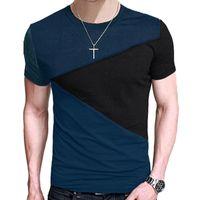 Wholesale Wholesale Men Fashion Shirts - 2017 men's t-shirts summer gentleman clothing ZSIIBO Fashion Tops harajuku t-shirt bts Casual Slim Fit hip hop Tees Stitching shirt TX1161-F