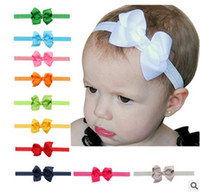 Wholesale Diy Hair Accessory - 20pcs lot baby Girl boutique Hair Bow Headband DIY Grosgrain Ribbon Bow Elastic Hair Bands For Newborn Toddler children Hair Accessories