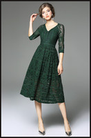 Wholesale Lace Dresses Online - Dark Green Lace Dress 3 4 Sleeves V-neck A-line 2017 Spring Long Dresses In Stock Ladies Formal Gown Online
