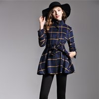 Wholesale L Color Wholesale - Women Casual Coat Long Sleeve Slim Outewear with Belt Autumn Winter Stand Collar Windbreaker Lady Lattice Coat