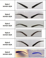 Wholesale Eyebrow Human - Wholesale- Hot! 2 paris lot Free shipping Dark brown color hand made human hair eyebrow wigs