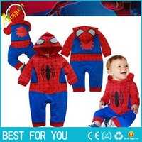 Wholesale Super Man Costumes For Girls - 2017 cartoon spider-man cosplay cotton jumpsuit full sleeve hoodies romper for baby boys and girls