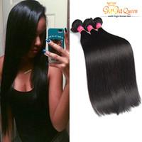 Wholesale Hair Extensions Dyable - Virgin Brazilian Straight Hair Weaves Dyeable Brazilian Hair Straight 3 Bundles 100%Unprocessed Human Hair Extensions Gaga Queen Dyable