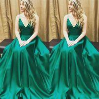 zarif kayışlar resmi uzun elbiseler toptan satış-Zarif Zümrüt Yeşil Uzun Bir Çizgi Örgün Akşam Elbise Seksi Spagetti Sapanlar Kolsuz Balo Parti Törenlerinde Custom Made DTJ