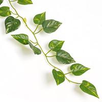 ingrosso piante di plastica edera-All'ingrosso- 2m Artificiale Edera Foglia Ghirlanda Piante Vine Falso Fogliame Fiori Decorazioni per la casa Plastica Fiore artificiale Rattan Cirro sempreverde