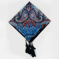 Wholesale New Style Hijab Scarf - Wholesale- Hot 2016 New Design Women Tassel Cashew Totem Print Square Scarf Musim Hijab Headband Shawl Nation Style wrap