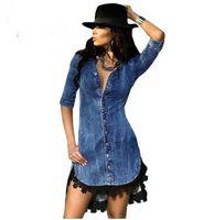 Wholesale Denim Rhinestone Shirt - Lace Trim Button Down Denim Shirt Dress 2017 modest fashion Elegant Womens Jeans Street Style vestidos vetement femme