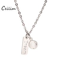Wholesale Faith Crystal - New Fashion Letter Dream & Faith Pendant Necklaces Stainless Steel Jewelry For Women Link Sweater Chain Statement Necklace With Gift Box