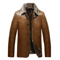 Wholesale Leather Jacket For Large Men - 2017 Winter Leather Jackets Men Faux Fur Coats Male Casual Motorcycle Leather Jacket Thicken Outwear Overcoat For Man Large Size