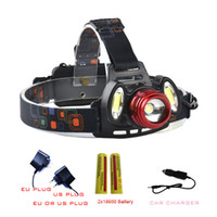 Wholesale Long Range Led Headlight - 5000 Lumens High Power LED Headlamps 2x18650 Long Range Head Torch Light T6+COB Zoomable LED Headlight Waterproof Head Lamp