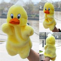 Wholesale Duck Puppets - Children Animal Duck Hand Puppet Baby Early Educational Cartoon Yellow Duck Dolls Kids Bedtime Stories Soft Plush Toys