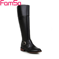 Wholesale Waterproof Long Boots - Wholesale-Size34-43 2016 New Sexy Women Boots Black red Autumn Knee High Boots buckle Long Waterproof Winter Thigh High Boots SBT2760