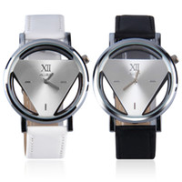 Wholesale Cool Wrist Bands - Wholesale- Stainless Steel Hollow Triangule Dial PU Leather Band Quartz Wrist Watch Casual Cool Watch Brand Men Watches 2016 hot!