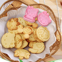 Wholesale Decorator Plunger Cutters - 5pcs Hot Hello Kitty Cartoon 3D Stereo Cookies Cake Mold Cookie Decorator Sugarcraft Mold Plunger Cutter