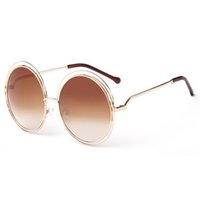 Wholesale red definition - Round Frame Women Sunglasses Alloy Around Hollow Frame Vintage Sun Glasses UV400 Large Frame Colorful High Definition Eyeware YW022