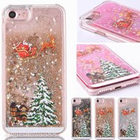 Wholesale Liquids Case - For iphone 8 7 Fashion Christmas Trees 3D Dynamic Glitter Stars Liquid Quicksand Hard Phone Back Case Cover For 5 SE 6 Plus