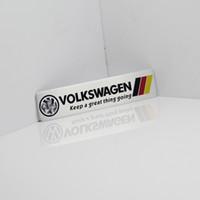 bayrak arabası amblemleri toptan satış-Almanya Ulusal bayrak Araba Yarışı Sticker Volkswagen Vw Plol Için Fit Golf 6 Metal R Rozeti Motorsport Araba Ince metal alüminyum Amblem
