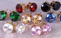 Wholesale Colors News - E032 Brinco News CZ Earing 8 Colors Bijoux Black Zircon Stud Earrings For Women Wedding Earings Girl Jewelry Pendientes
