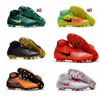 Wholesale Soft Red Leather Shoes - New Football Boots 2017 Magista Obra II 2 FG AG Mens Soccer Shoes High Ankle Magistas Soccer Boots Cheap Outdoor Soccer Cleats Wholesale