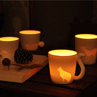 ceramica de conejo al por mayor-5 Style Animal Cups con paquete al por menor Frosted Ceramic Candlestick Tazas Squirrel Cat Rabbit Deer Horse Design Milk Cups Promotion Gifts